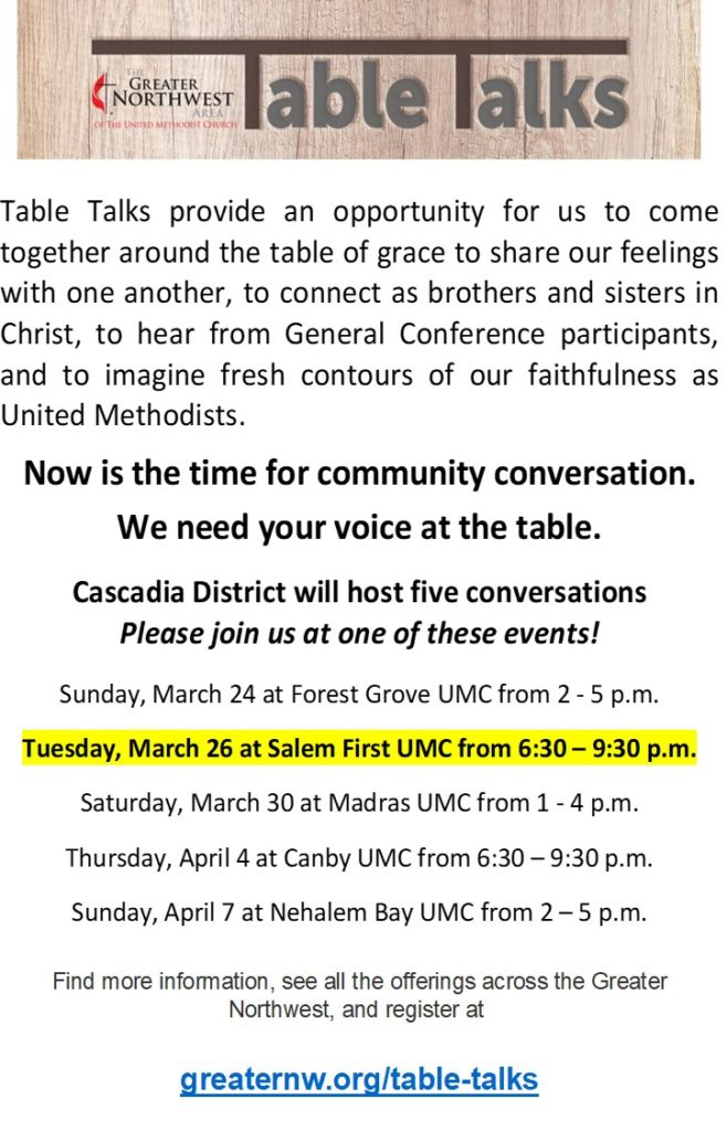Table Talk 3.0 @ Salem First UMC | Salem | Oregon | United States